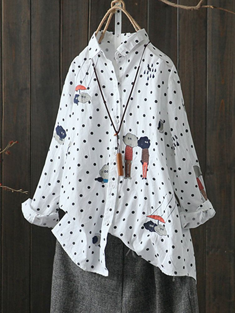 6a8c5670c4741 Casual Polka Dot Cartoon Embroidery Long Sleeve Women Blouses Cheap -  NewChic