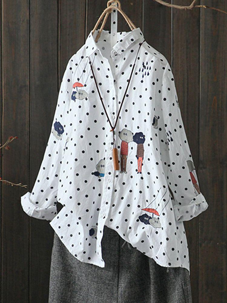 6a8c5670c4741 Casual Polka Dot Cartoon Embroidery Long Sleeve Women Blouses Cheap -  NewChic