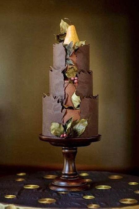 chocolate and pear wedding cake