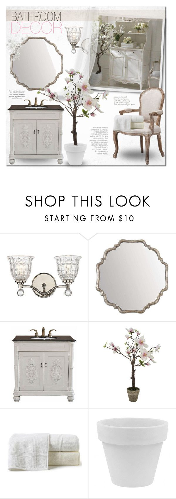 """""""Shabby Bathroom Decor"""" by alexandrazeres ❤ liked on Polyvore featuring interior, interiors, interior design, home, home decor, interior decorating, Savoy House, Home Decorators Collection, Bellaterra Home and Peacock Alley"""