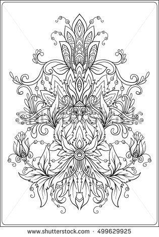 Ornamental floral element for design in vintage style