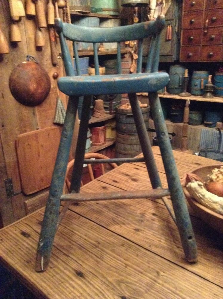 Antique childs highchair youth chair blue paint primitive AAFA early old - Antique Childs Highchair Youth Chair Blue Paint Primitive AAFA