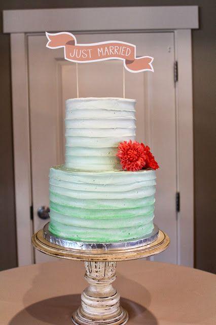 Aqua Ombre Cake.  Coral Gum Paste Dahlias.  CMH CAKES