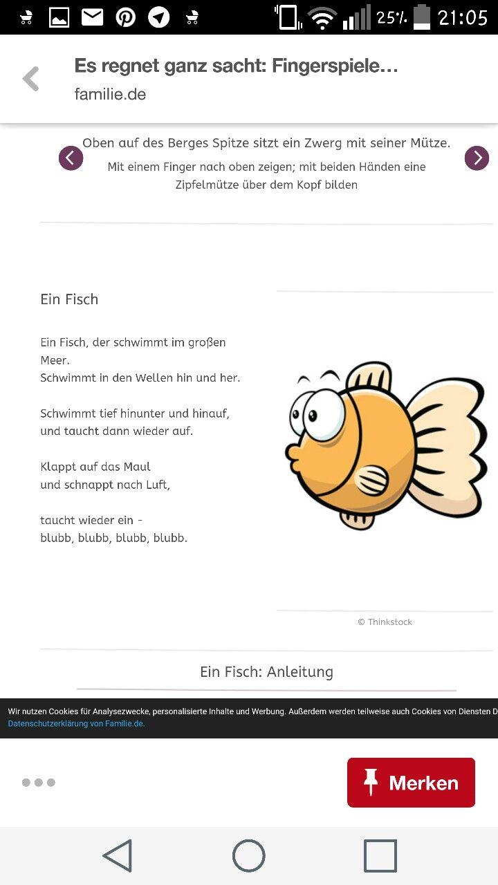 Fische Fingerspiel | Kinder.... | Pinterest | Fingerspiele, Fische ...