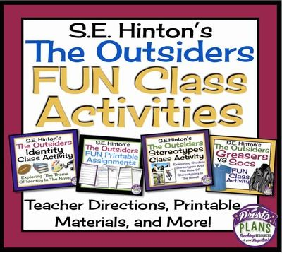 OUTSIDERS Fun Class Activities Printable Interactive