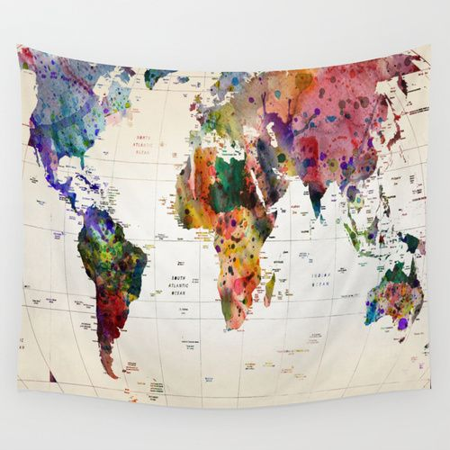 Patchwork World Map Tapestry  Tapestry Urban and Catalog