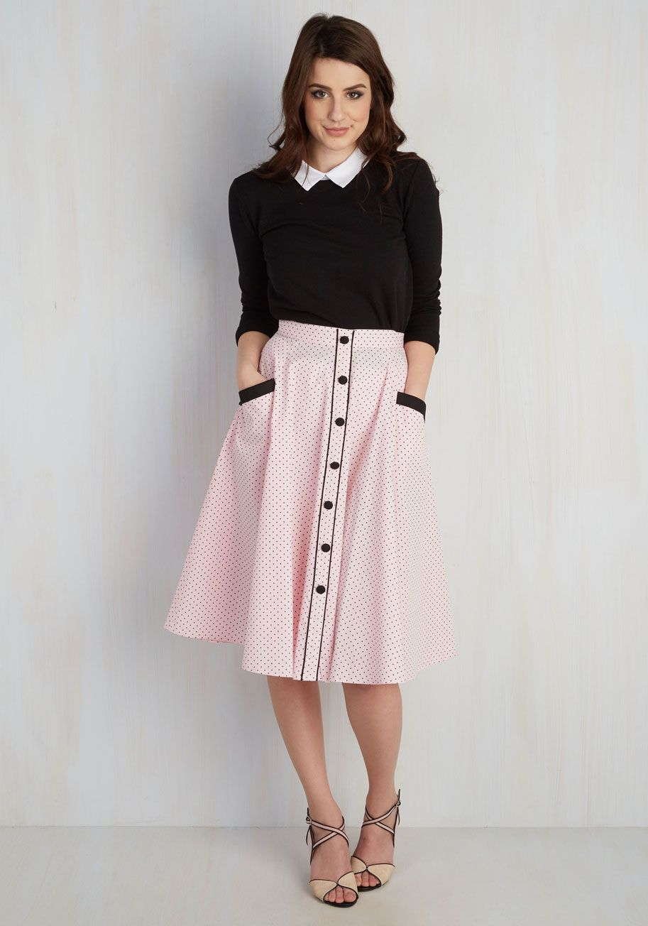 b2018a9a1 Heps and Dreams Skirt in Petal. Spark a retro revival in this pastel pink  skirt!  pink  modcloth