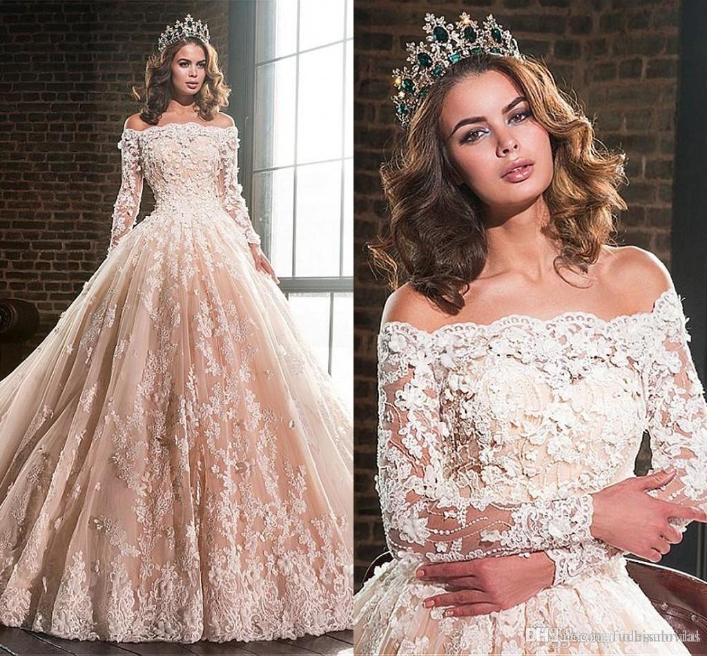 Wedding Dresses Ball Gown, Lavish Tulle & Satin Off-the