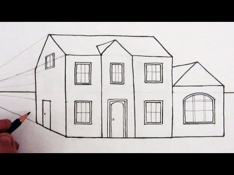 How To Draw A Peaked Roof House In One Point Perspective You