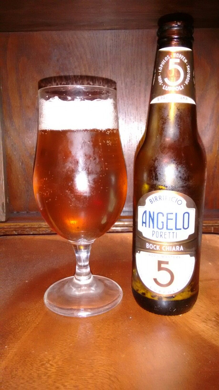 Birrificio Angelo Poretti Bock Chiara. An Italian Bock. The initial look and smell are great. Not a sweet as a usual Bock a little sharper but gives a real warming feeling a good 30 seconds after the sip.