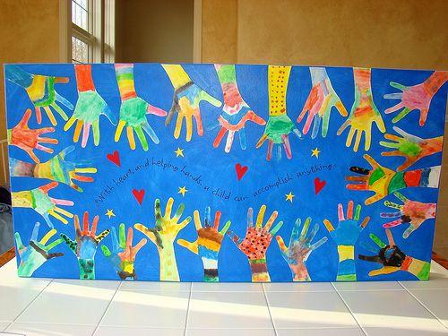Voor het opschrijven of opplakken van de missie van de groep op een groot karton. Omringt door versierde handen (arm) van de leerlingen. 'De missie wordt gedragen door ons allemaal'.