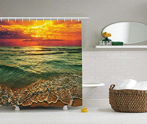 Ambesonne Ocean Decor Collection Serenity View of Mystic Sunset at