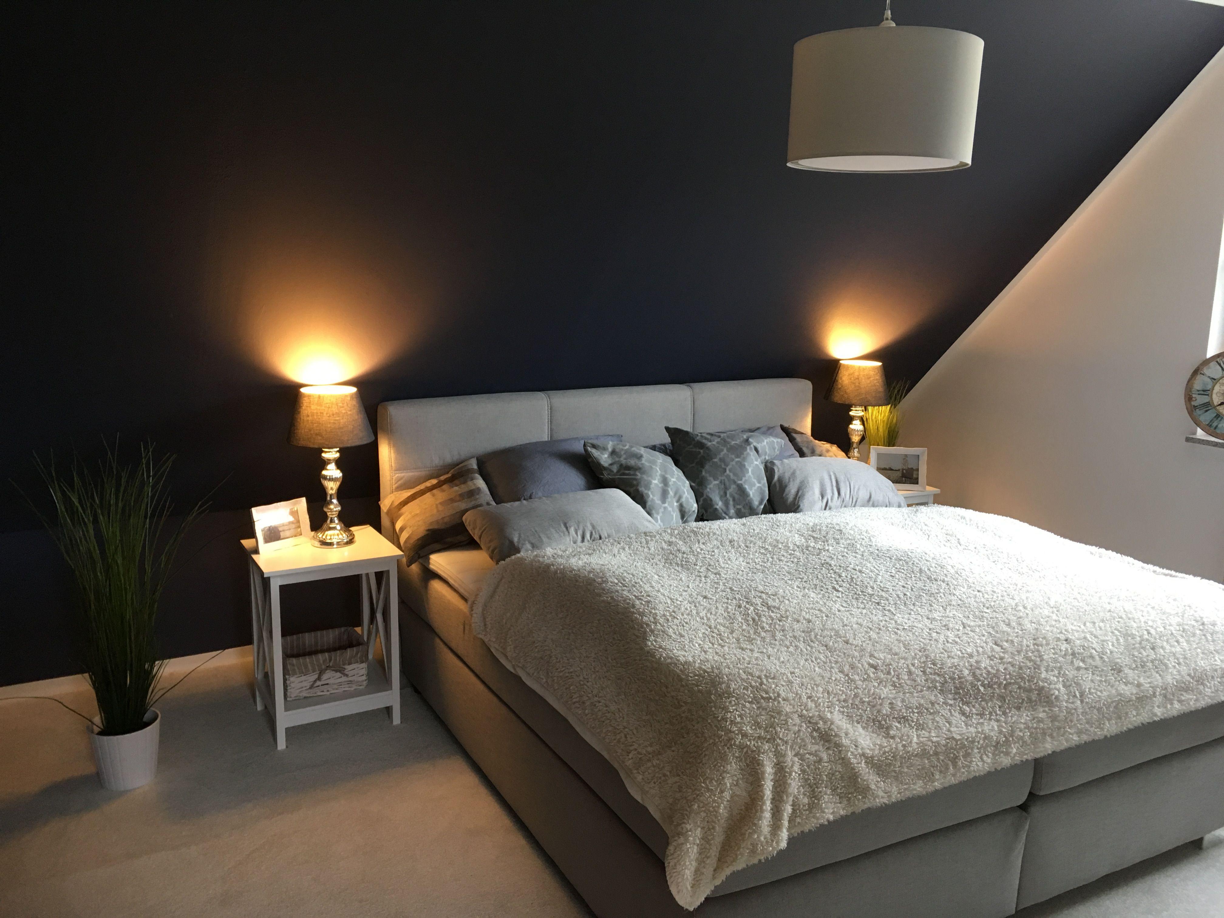 schlafzimmer blau grau boxspringbett wohnung pinterest