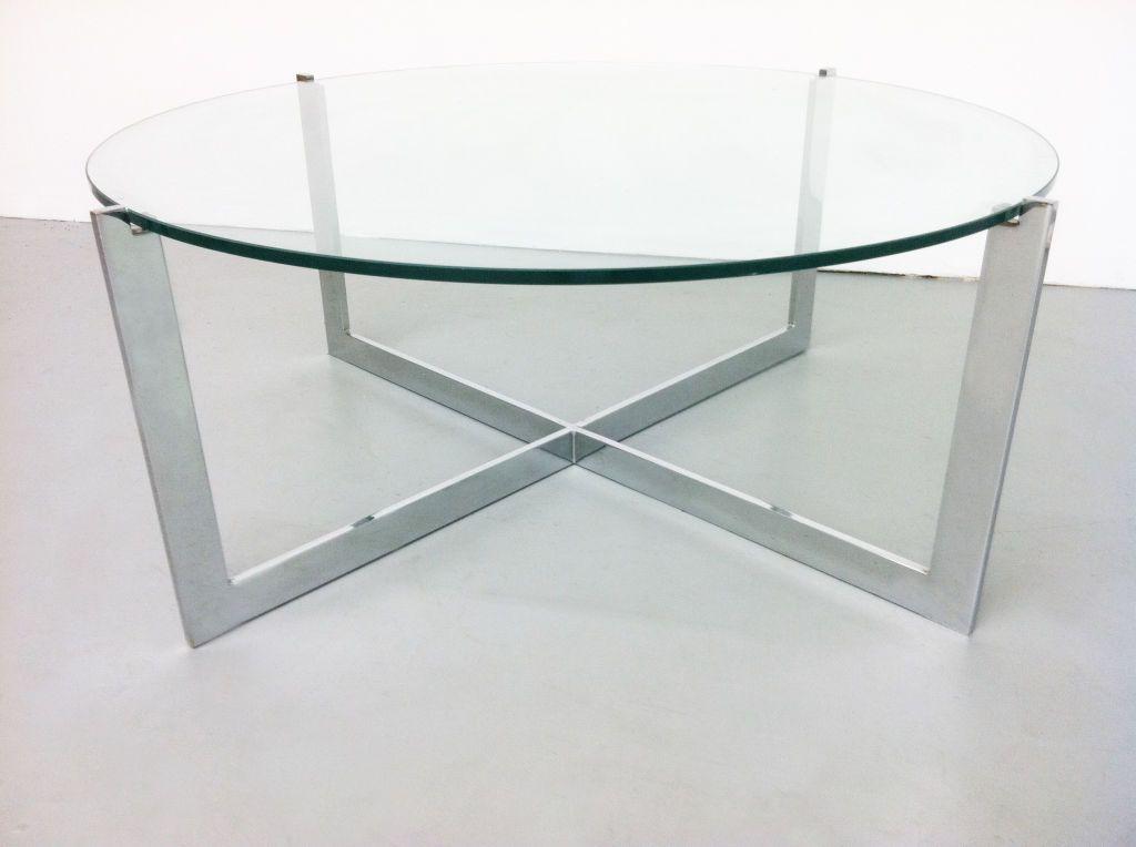 Milo Baughman ChromeGlass Cantilevered Round Coffee Table Round