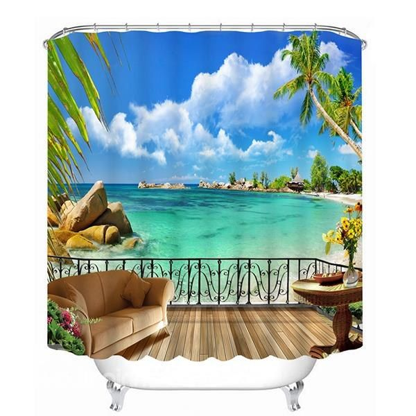 Beautiful Beach Scene Outside The Balcony Print 3d Bathroom Shower