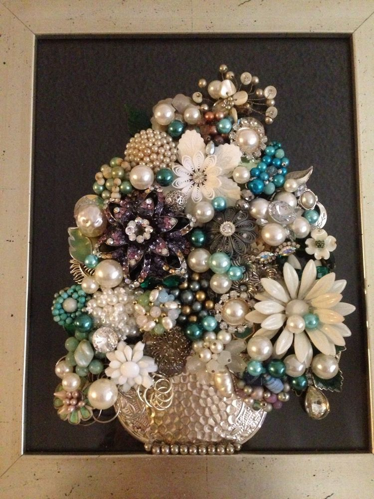 Vintage Jewelry Art Framed Not Christmas Tree Floral ** SPRING Upcycled Recycled