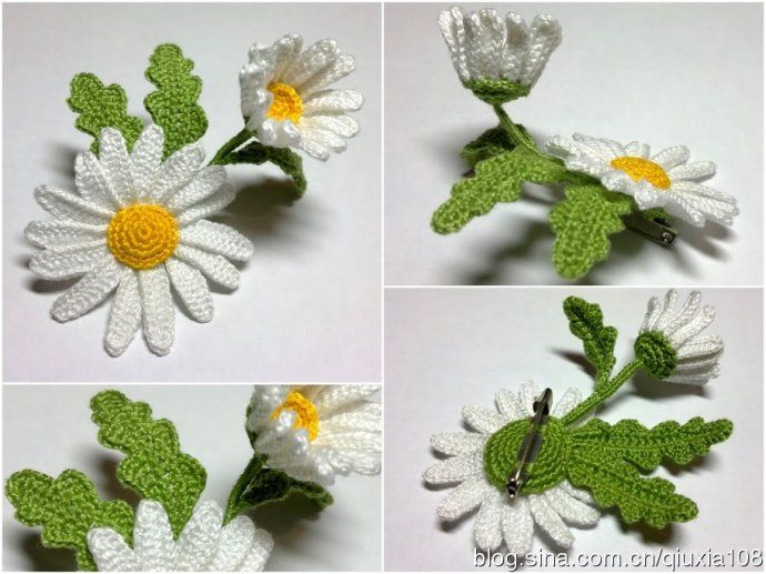 [Crochet] camomile brooch is made of this