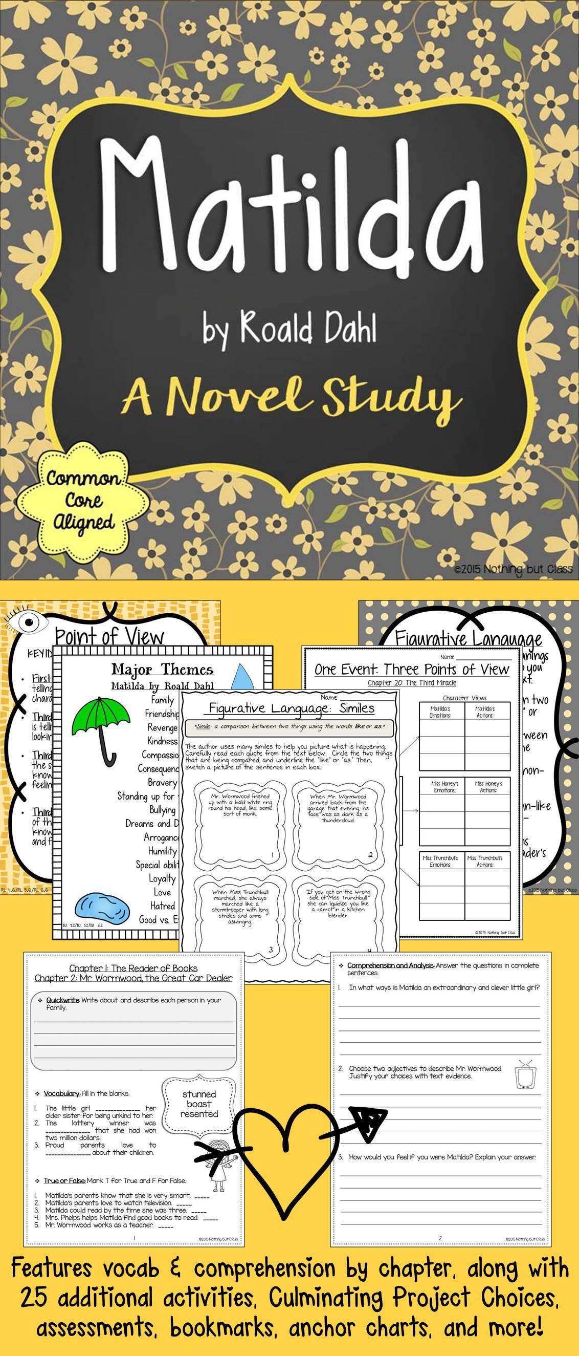 Matilda Novel Study Unit Comprehension Vocabulary
