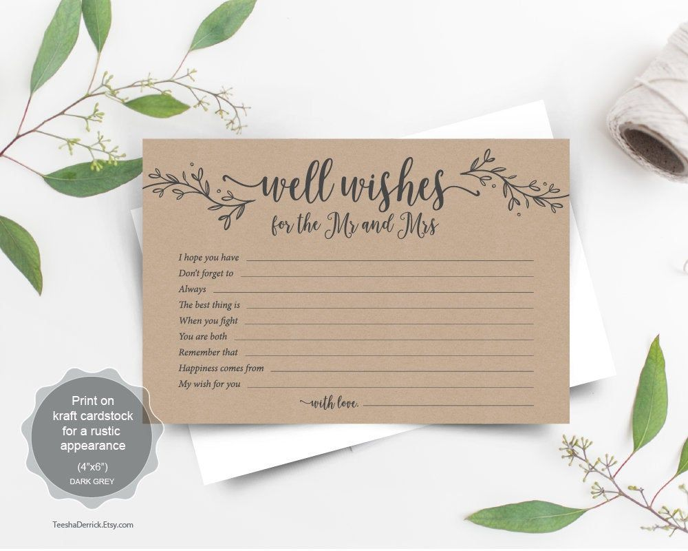 Well Wishes Cards Wedding Advice and Well Wishes for the Mr and Mrs PDF Advice For the Bride and Groom Printable Advice Cards Wedding