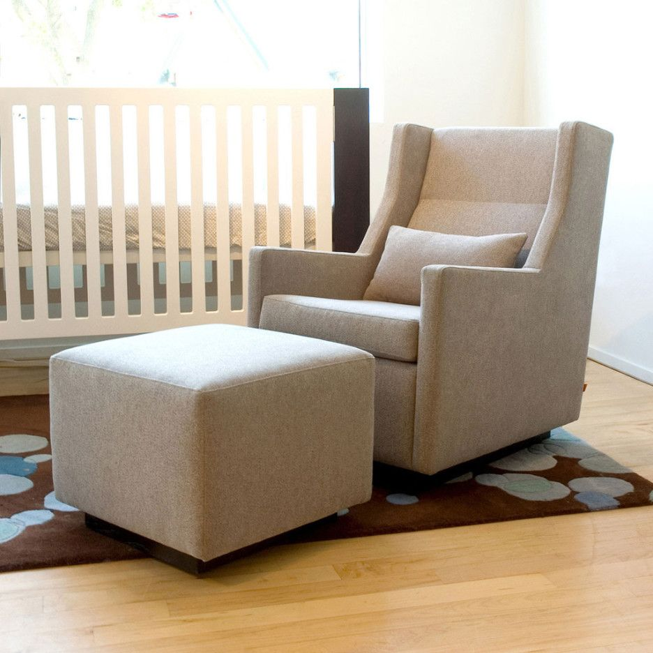 Baby Nursery Gorgeous Furniture For Room Decoration Using Light Cream Fabric Glider Along With Natural Cube Footstool