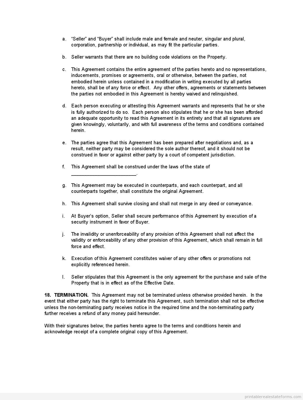 Sample Printable Buying Monster Purchase And Sale Agreement Form