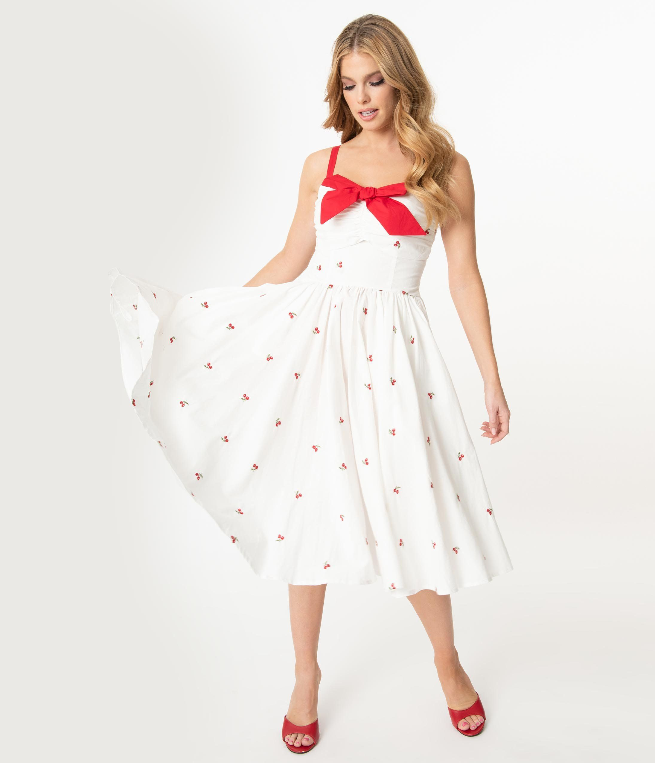 Unique Vintage 1950s White Red Cherry Print Golightly Swing Dress In 2020 Dresses Swing Dress Unique Dresses