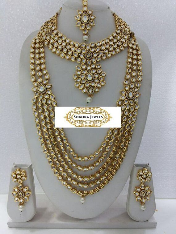 Kundan bridal set by SokoraJewellery on Etsy Kundan Jewelry