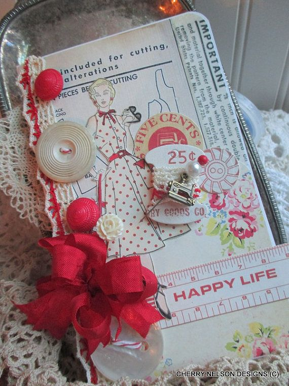Fancy Handmade Card Hand Stamped 1950s Lady Card Happy Life Handmade