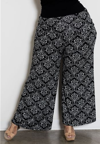Plus Size Printed Jersey Pants