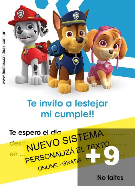 Tarjeta De Cumpleaños De Paw Patrol Editable Gratis Click