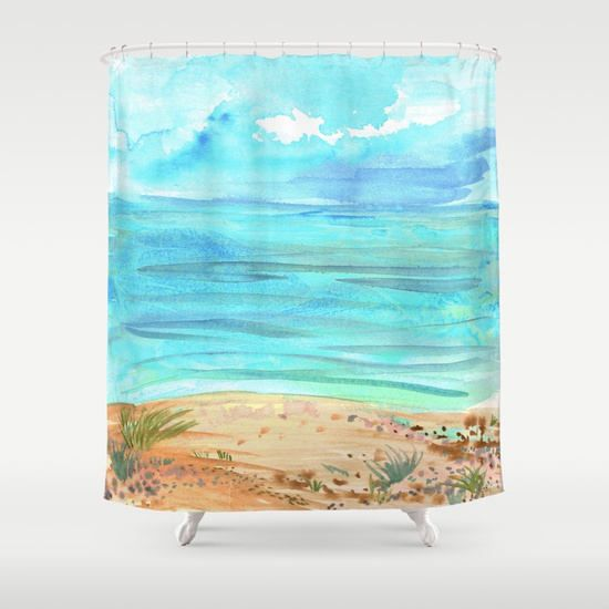 Beach Watercolor Shower Curtain Abstract Coastal Painting