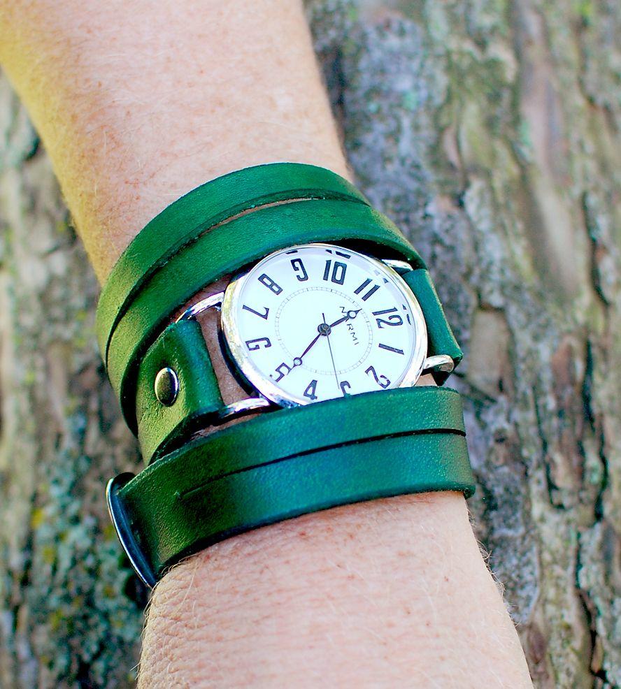 Split Triple-Wrap Green Wrist Watch