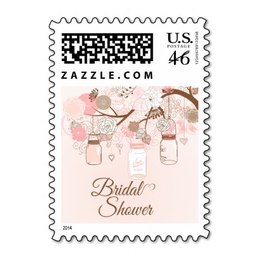 chic pink mason jar floral bridal shower stamps