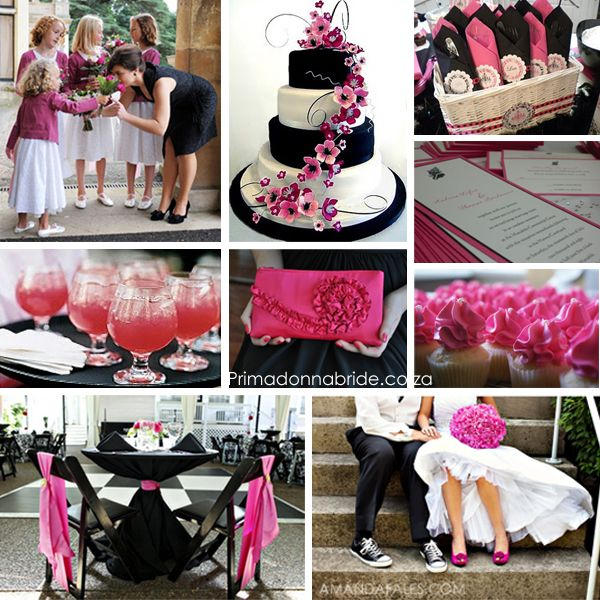 Hot pink, black and white wedding inspirationtoo cute Black and - pink black and white weddings