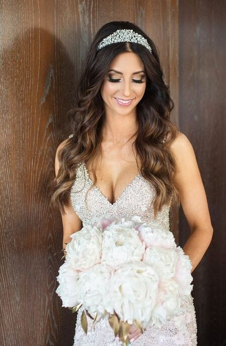 Brunette Bride With Long Hair Down Tiara Smokey Eye Makeup