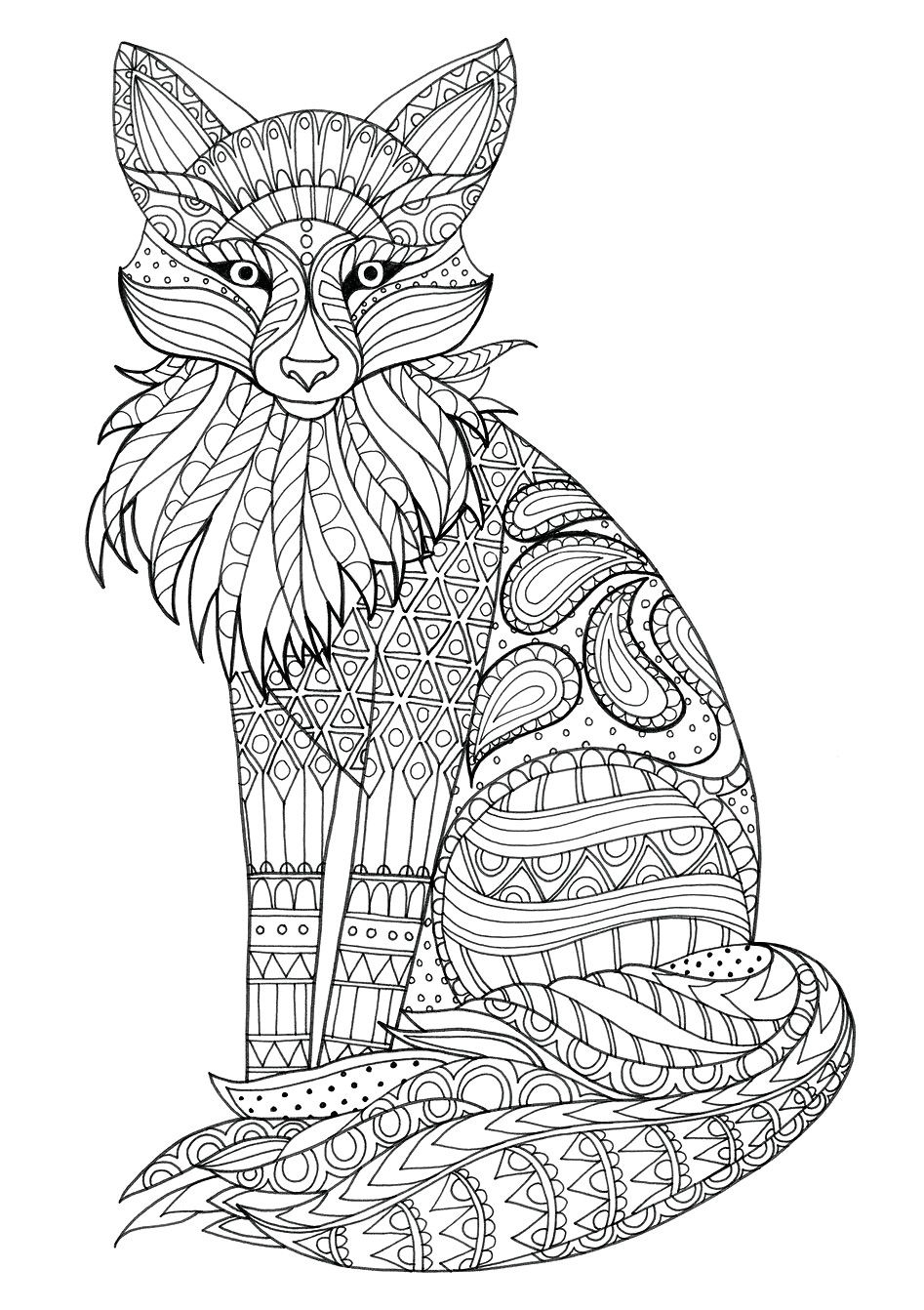 I Love This Fox Coloring Pic Just Beautiful Fox Coloring Page Animal Coloring Pages Pyrography Patterns