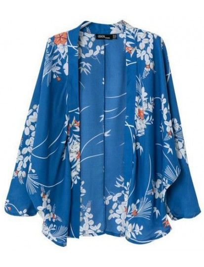 Blue Printed Kimono Blouse