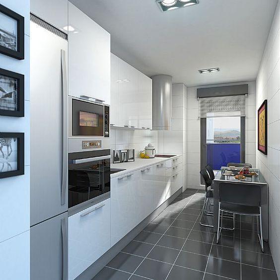 resultado de imagen de cocinas alargadas blancas casasmodernasestrechas decoraciondecocinasrusticas - Cocinas Alargadas