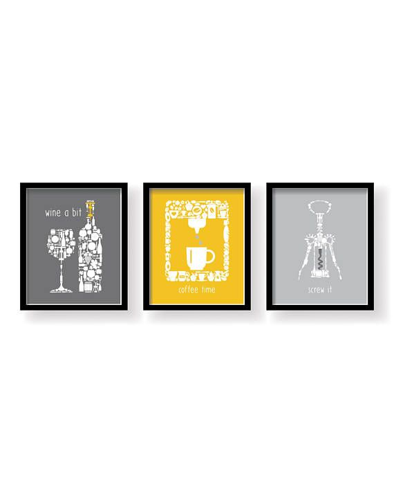 Mustard yellow Gray White Kitchen Signs Wall Decor - Kitchen wall ...