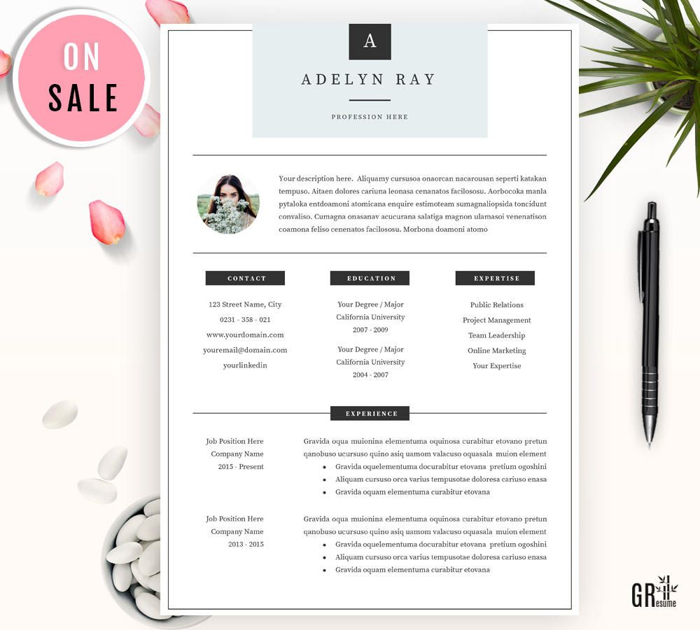 Vente Resume Professionnel Cv Template For Word Us Letter Etsy Cv Template Resume Template Creative Resume Templates