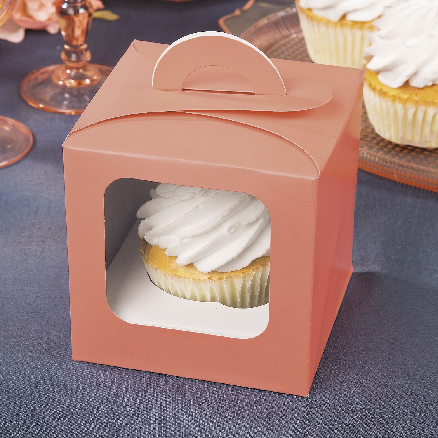Coral Cupcake Boxes With Handle Coral Cupcakes Cupcake Boxes Cupcake Template