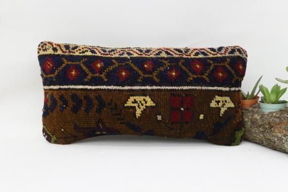 Turkish Rug Pillow,8x16 Natural Pillow,Lumbar Pillow Covers, Blue Pillow, Embroidered Pillow, Tradit