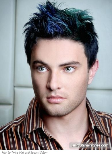 Short Hair Style With Colorful Highlights Boys Colored Hair Men Hair Color Mens Hair Colour