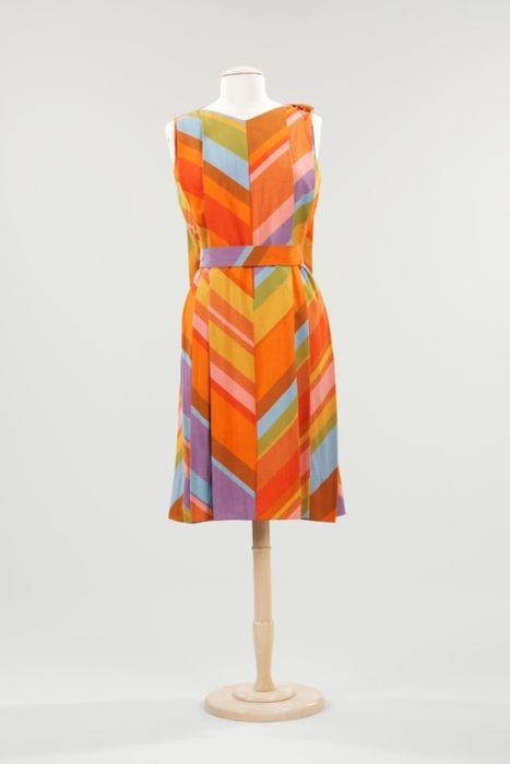 f528601e36b A very colorful linen shift dress with a cape-like back designed by Jack  Lenor Larsen in 1960 or 1961.