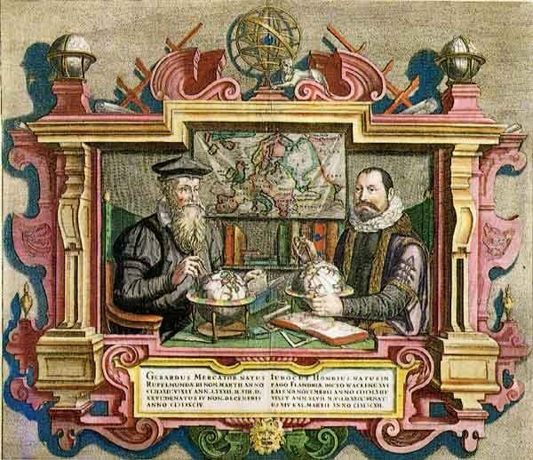 Mercator y Hondius, los dos cartógrafos más sobresalientes de la época.