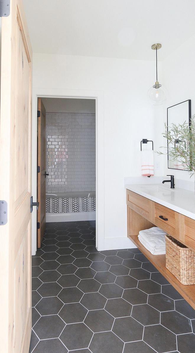Bathroom Large Hex Floor Tile Modern Farmhouse Bathroom