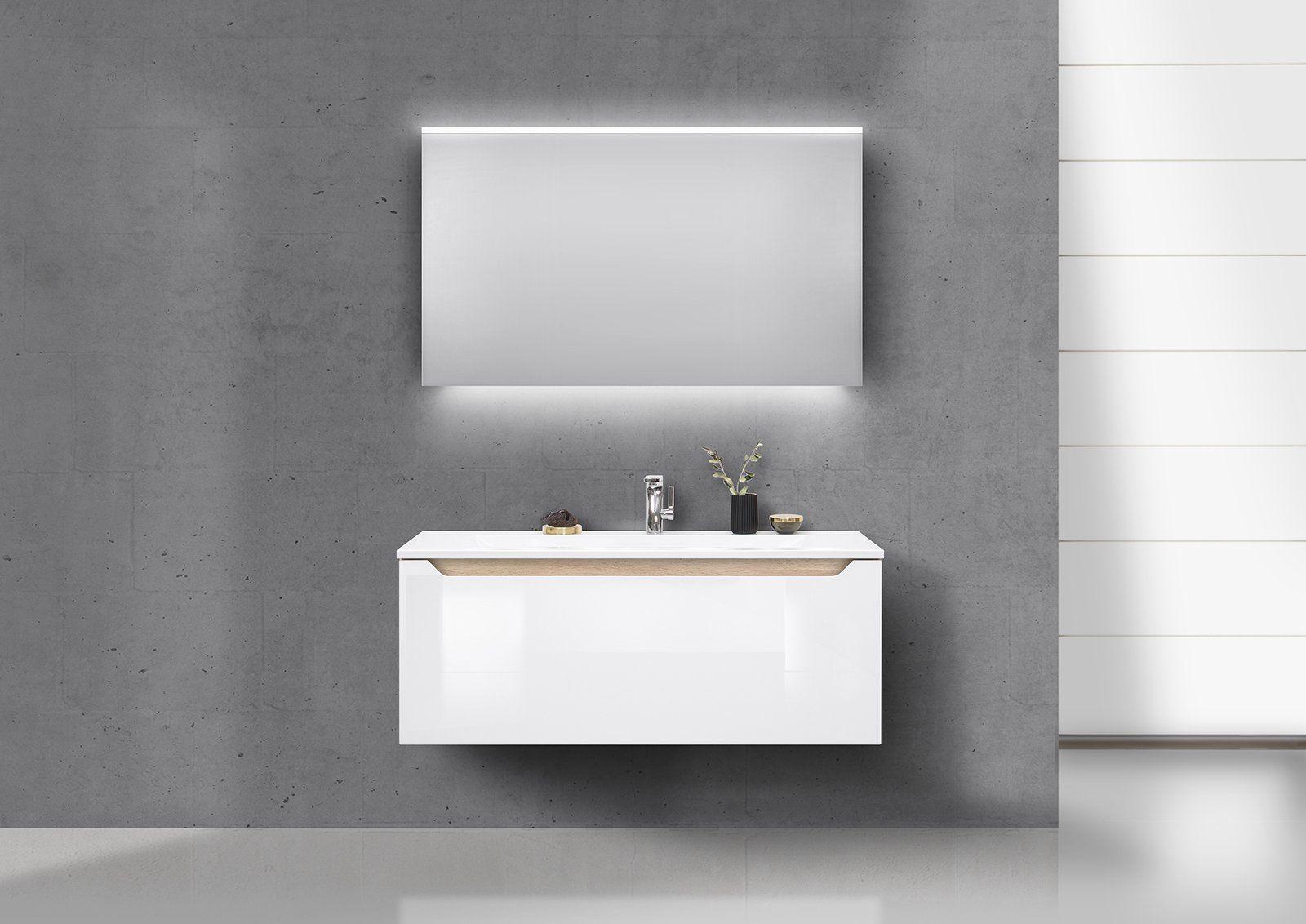 Badmöbel Set grifflos 120 cm Waschtisch, Unterschrank und