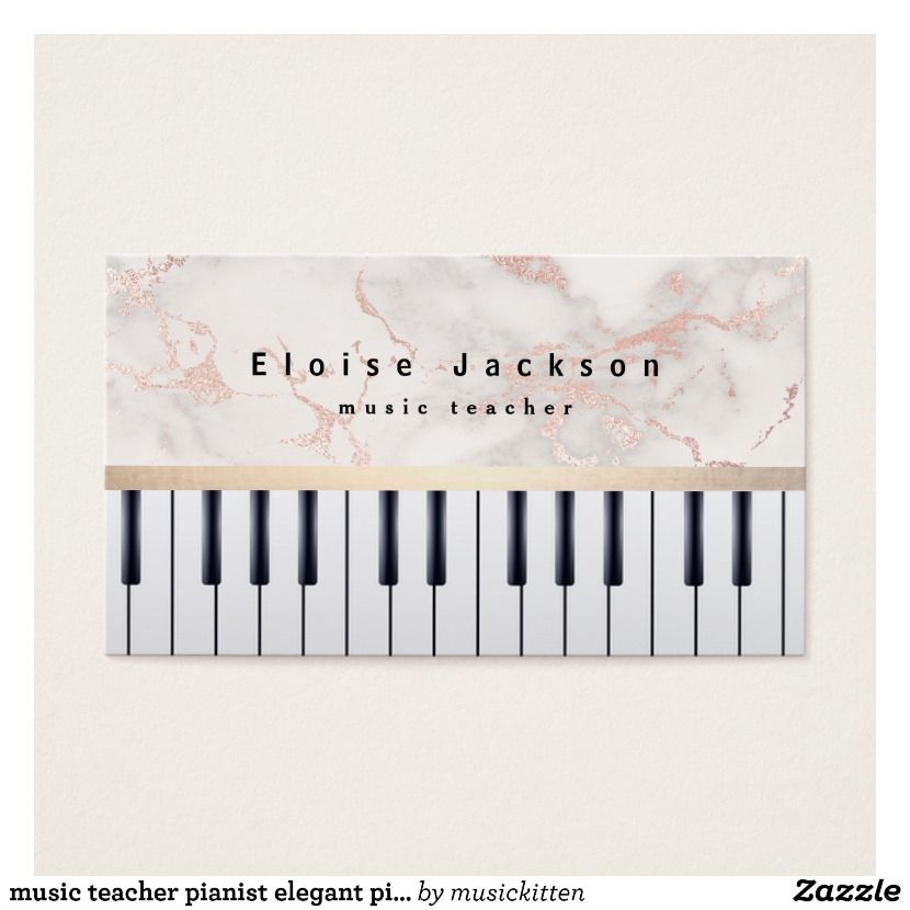 music teacher pianist elegant pink marble business card | Piano ...