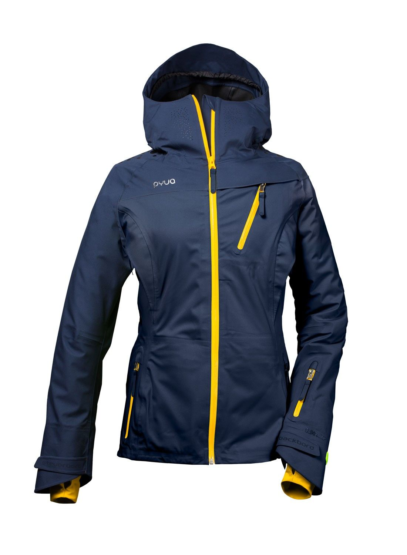 a70df5028bda3f skijacke und snowboardjacke für damen in navy blau und gelb modell backyard  von pyua in vorderansicht