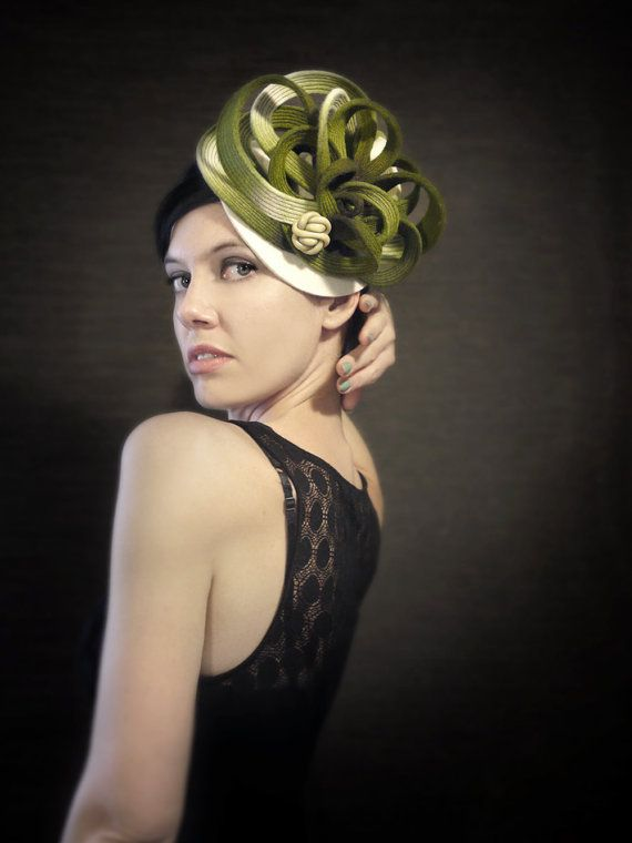 Ombre Green/Cream Felt Hat With Burgundy Stitching  by pookaqueen, $175.00
